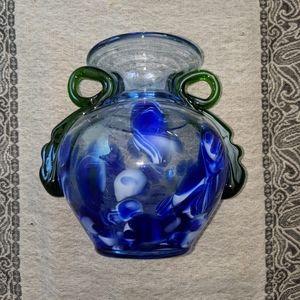 Handblown Marbled Glass Vase W/ Vine Accents